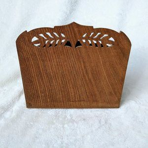Accents - Vintage Indian Hand Carved Wooden Floral Organizer